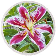 Awakening Asiatic Lily Round Beach Towel