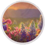 Awakening - Mt Susitna Spring - Sleeping Lady Round Beach Towel