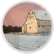 Award-winning Original Acrylic Painting - Nebraska Barn Round Beach Towel