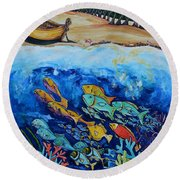 Away With The Fishes Round Beach Towel