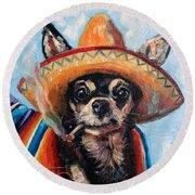Ay Chihuahua Round Beach Towel