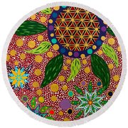 Ayahuasca Vision - The Opening Of The Heart Round Beach Towel