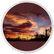 Az Monsoon Sunset Round Beach Towel by Elaine Malott