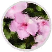 Azaelas Under Glass Round Beach Towel