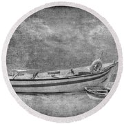Azorean Fishing Boats B/w Round Beach Towel