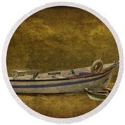 Azorean Fishing Boats Round Beach Towel