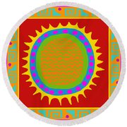 Aztec Del Sol Round Beach Towel by Vagabond Folk Art - Virginia Vivier