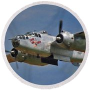 B-25 Take-off Time 3748 Round Beach Towel