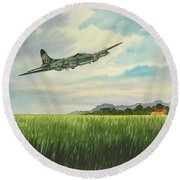 B17 Over Norfolk England Round Beach Towel