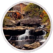 Babcock Grist Mill And Falls Round Beach Towel by Jerry Fornarotto