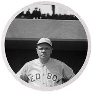 Babe Ruth In Red Sox Uniform Round Beach Towel by Underwood Archives