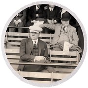 Babe Ruth In The Stands At Griffith Stadium 1922 Round Beach Towel by Mountain Dreams