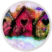 Baby Birdhouses Round Beach Towel