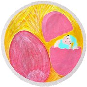 Round Beach Towel featuring the painting Baby Egg by Lorna Maza
