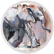 Baby Elephant, 2012 Mixed Media On Paper Round Beach Towel