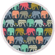Baby Elephants And Flamingos Round Beach Towel by Sharon Turner