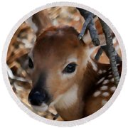Baby Face Fawn Round Beach Towel