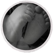 Baby Feet Round Beach Towel by Barbara Bardzik