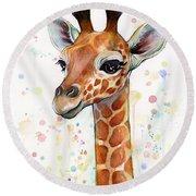 Baby Giraffe Watercolor  Round Beach Towel