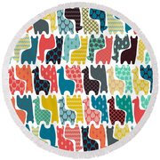 Baby Llamas Round Beach Towel by Sharon Turner