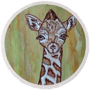 Round Beach Towel featuring the painting Baby Longneck Giraffe by Ella Kaye Dickey