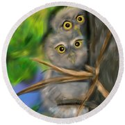Baby Owls Round Beach Towel