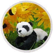 Baby Panda Under The Golden Sky Round Beach Towel by Ausra Huntington nee Paulauskaite