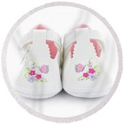 Baby Shoes Round Beach Towel