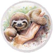 Baby Sloth Watercolor Round Beach Towel