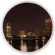 Back Bay At Night Round Beach Towel by Mike Ste Marie