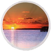 Back Bay Sunrise Round Beach Towel