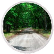 Back Roads Of South Carolina Round Beach Towel