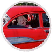 Round Beach Towel featuring the photograph Back Seat Marilyn by Ed Weidman