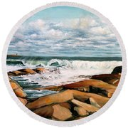 Back Shore Gloucester Round Beach Towel by Eileen Patten Oliver
