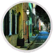 Round Beach Towel featuring the photograph Back Street In Charleston by Rodney Lee Williams