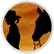 Round Beach Towel featuring the painting Back To The Barn by Julie Brugh Riffey