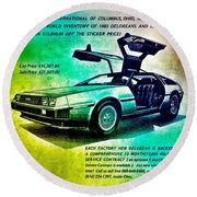 Back To The Delorean Round Beach Towel