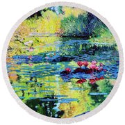 Back To The Garden Round Beach Towel