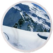 Backcountry Snowboarding Near Mt Round Beach Towel