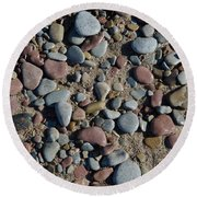 Round Beach Towel featuring the photograph Background Of Wet Pebbles And Sand by Kennerth and Birgitta Kullman