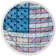 Backlit American Flag Round Beach Towel