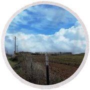 Backroads- Telephone Poles- And Barbed Wire Fences Round Beach Towel