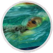 Round Beach Towel featuring the photograph Backstroke by Randi Grace Nilsberg