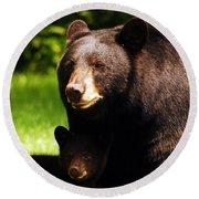 Backyard Bears Round Beach Towel