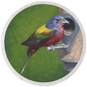 Backyard Bunting Round Beach Towel