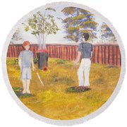 Round Beach Towel featuring the painting Backyard Cricket Under The Hot Australian Sun by Pamela  Meredith