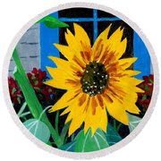 Backyard Flowers  Round Beach Towel