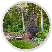 Backyard Garden In Loon Lake, Spokane Round Beach Towel