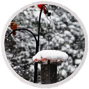 Backyard Winter Wonderland 2  Round Beach Towel by Lydia Holly