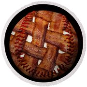 Bacon Weave Baseball Square Round Beach Towel by Andee Design